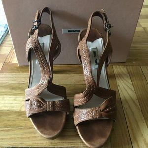 Miu Miu Brown Leather Sandal